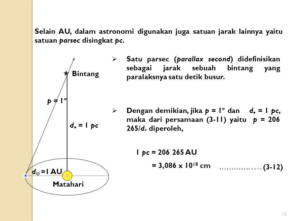 13 Selain AU, dalam astronomi digunakan juga satuan jarak lainnya yaitu satuan parsec disingkat pc.  Satu parsec (parallax second) didefinisikan seba
