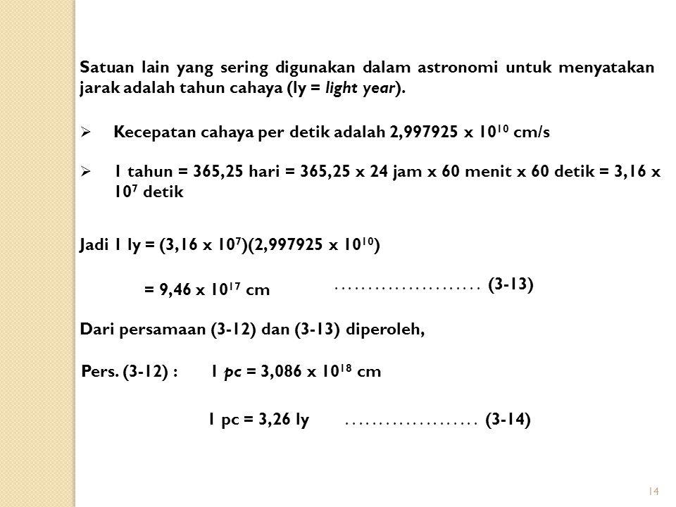 14 Satuan lain yang sering digunakan dalam astronomi untuk menyatakan jarak adalah tahun cahaya (ly = light year).