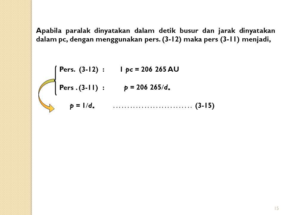 15 Apabila paralak dinyatakan dalam detik busur dan jarak dinyatakan dalam pc, dengan menggunakan pers. (3-12) maka pers (3-11) menjadi, p = 1  d ..