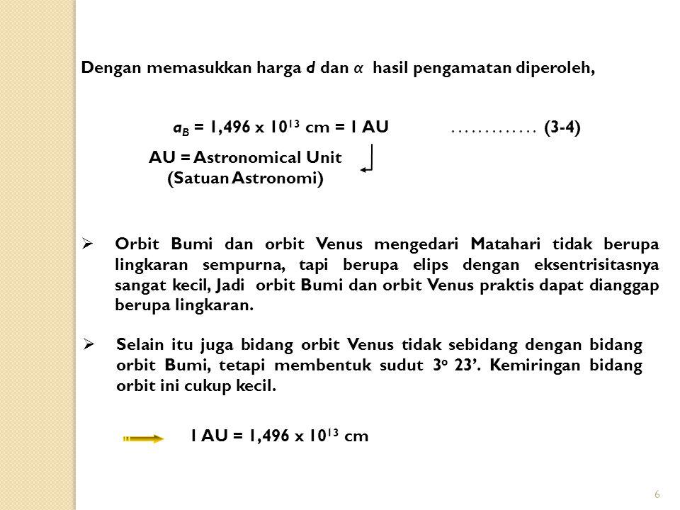 6 a B = 1,496 x 10 13 cm = 1 AU AU = Astronomical Unit (Satuan Astronomi)............. (3-4) Dengan memasukkan harga d dan α hasil pengamatan diperole