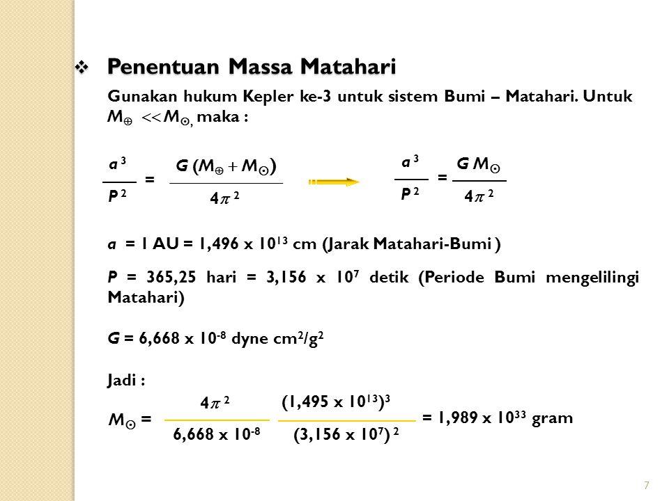 7 4 24 2 M  = (1,495 x 10 13 ) 3 (3,156 x 10 7 ) 2 6,668 x 10 -8 = 1,989 x 10 33 gram Gunakan hukum Kepler ke-3 untuk sistem Bumi – Matahari. Untuk