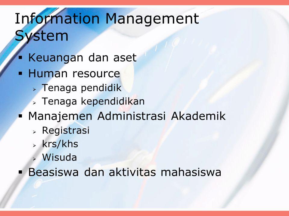 Information Management System  Keuangan dan aset  Human resource  Tenaga pendidik  Tenaga kependidikan  Manajemen Administrasi Akademik  Registrasi  krs/khs  Wisuda  Beasiswa dan aktivitas mahasiswa