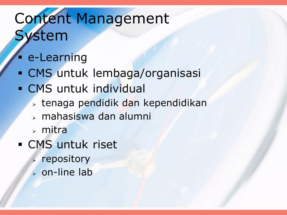 Content Management System  e-Learning  CMS untuk lembaga/organisasi  CMS untuk individual  tenaga pendidik dan kependidikan  mahasiswa dan alumni  mitra  CMS untuk riset  repository  on-line lab