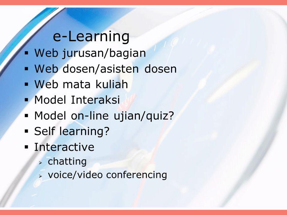 e-Learning  Web jurusan/bagian  Web dosen/asisten dosen  Web mata kuliah  Model Interaksi  Model on-line ujian/quiz.