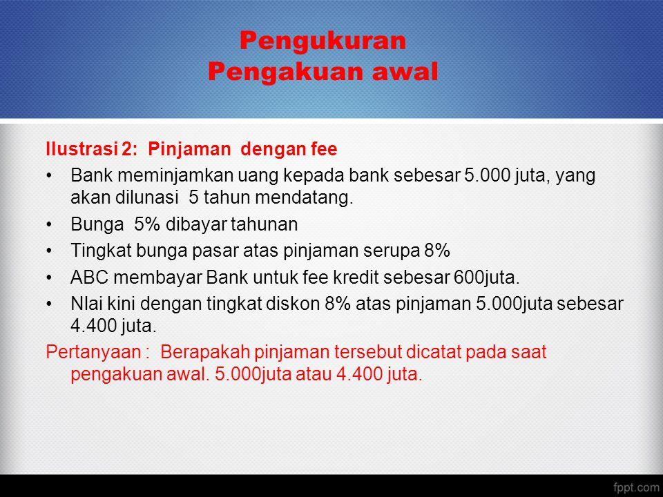Pengukuran Pengakuan awal Ilustrasi 2: Pinjaman dengan fee Bank meminjamkan uang kepada bank sebesar 5.000 juta, yang akan dilunasi 5 tahun mendatang.