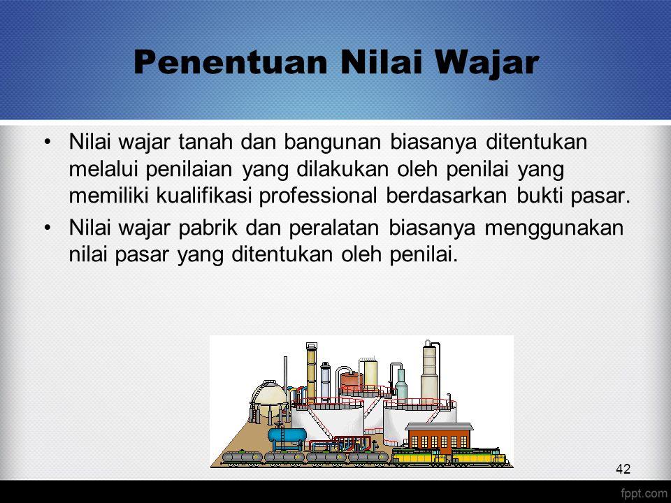 Penentuan Nilai Wajar 42 Nilai wajar tanah dan bangunan biasanya ditentukan melalui penilaian yang dilakukan oleh penilai yang memiliki kualifikasi professional berdasarkan bukti pasar.