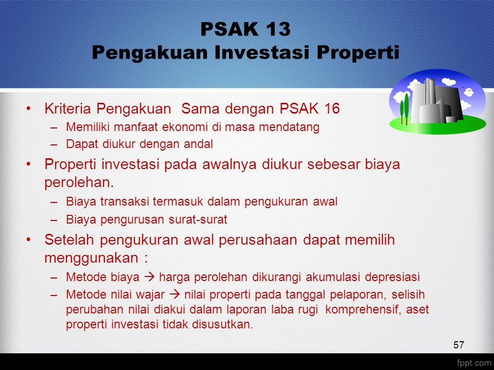 PSAK 13 Pengakuan Investasi Properti Kriteria Pengakuan Sama dengan PSAK 16 –Memiliki manfaat ekonomi di masa mendatang –Dapat diukur dengan andal Properti investasi pada awalnya diukur sebesar biaya perolehan.