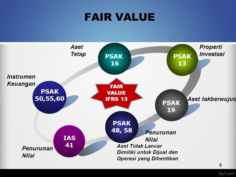 FAIR VALUE PSAK 50,55,60 PSAK 16 PSAK 13 PSAK 19 IAS 41 PSAK 48, 58 Properti Investasi Aset Tidak Lancar Dimiliki untuk Dijual dan Operasi yang Dihentikan Aset takberwujud Penurunan Nilai Instrumen Keuangan Aset Tetap 6 FAIR VALUE IFRS 13 Penurunan Nilai