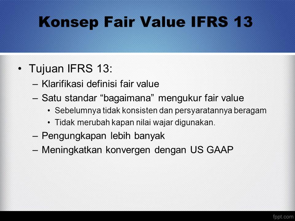 Konsep Fair Value IFRS 13 Tujuan IFRS 13: –Klarifikasi definisi fair value –Satu standar bagaimana mengukur fair value Sebelumnya tidak konsisten dan persyaratannya beragam Tidak merubah kapan nilai wajar digunakan.