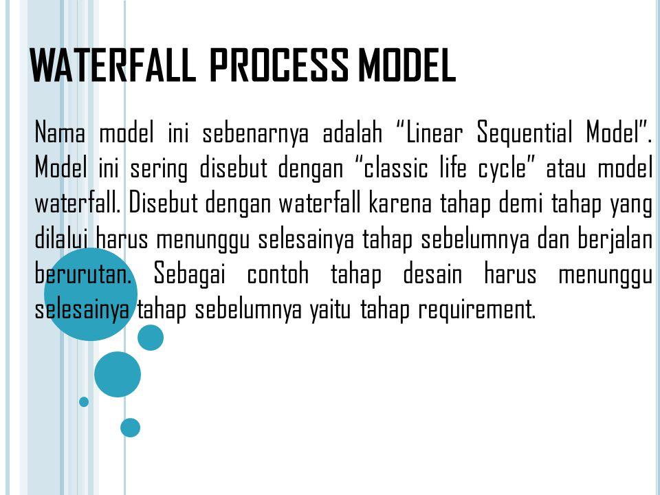 """WATERFALL PROCESS MODEL Nama model ini sebenarnya adalah """"Linear Sequential Model"""". Model ini sering disebut dengan """"classic life cycle"""" atau model wa"""