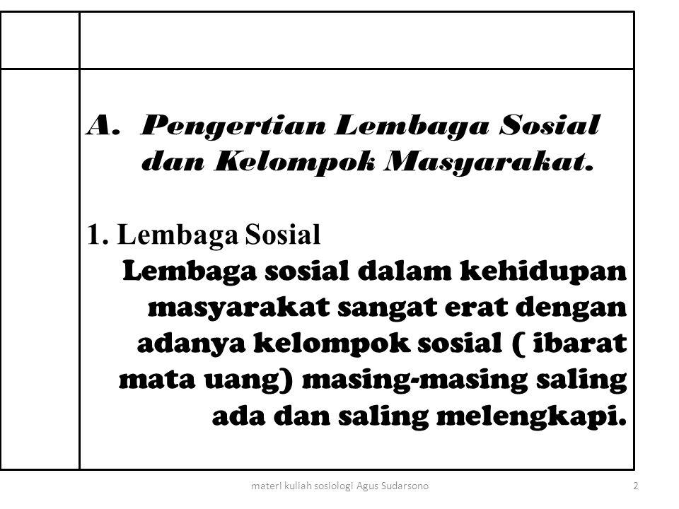 A.Pengertian Lembaga Sosial dan Kelompok Masyarakat.