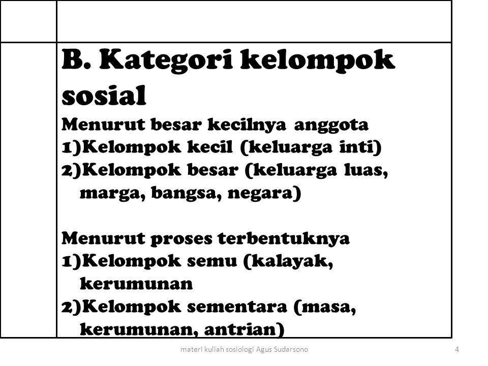 3) Kelompok nyata (organisasi sosial) Seperti keluarga, klen (Batak), dadieh (Bali), Bodoroyok (Sunda).