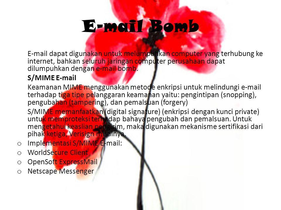 E-mail Bomb E-mail dapat digunakan untuk melumpuhkan computer yang terhubung ke internet, bahkan seluruh jaringan computer perusahaan dapat dilumpuhka