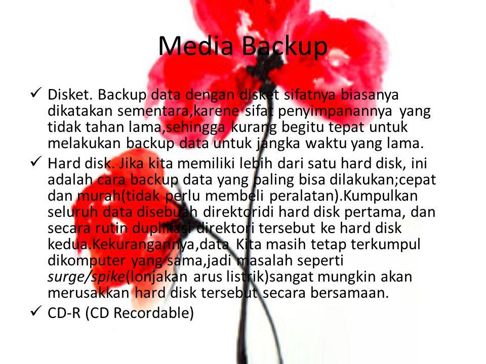 Media Backup Disket. Backup data dengan disket sifatnya biasanya dikatakan sementara,karene sifat penyimpanannya yang tidak tahan lama,sehingga kurang
