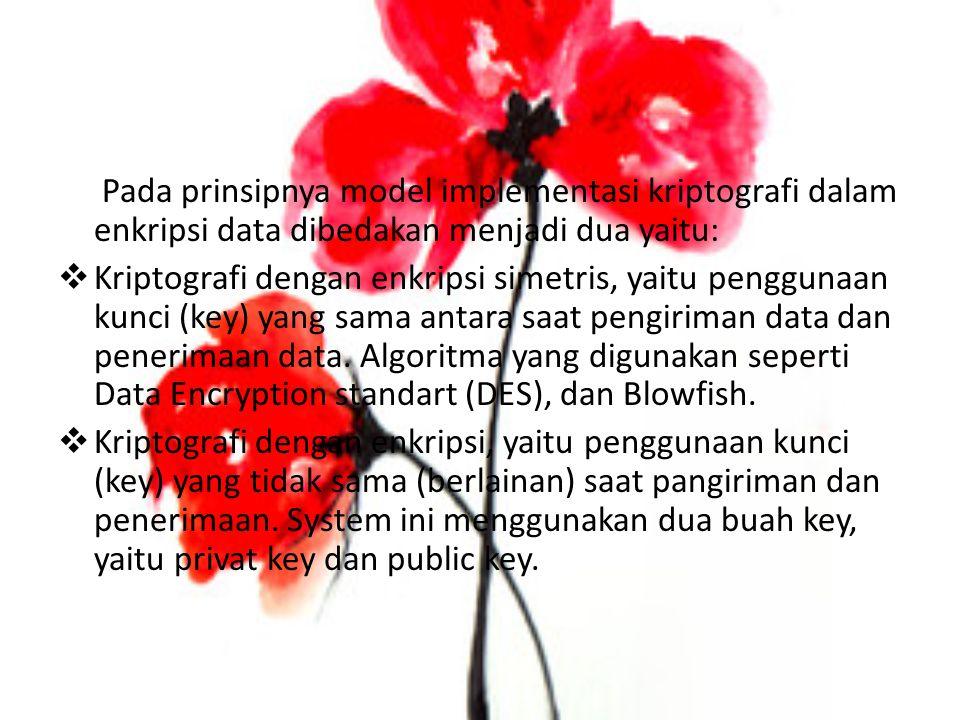Teknik Enkripsi Terdapat beberapa teknik enkripsi yang digunakan dalam suatu komunikasi data pada jaringan komputer  Enkripsi Konvensional Proses enkripsi ini dapat digambarkan sebagai berikut: Plain Text  Algoritma Enkripsi  Cipher Text  Algoritma Dekripsi  Plain text PenggunaA - - - - - - - - - - kunci (key) - - - - - - - - - -