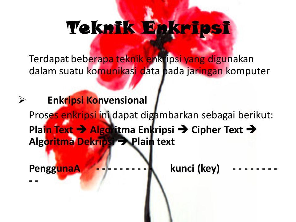 Teknik Enkripsi Terdapat beberapa teknik enkripsi yang digunakan dalam suatu komunikasi data pada jaringan komputer  Enkripsi Konvensional Proses enk
