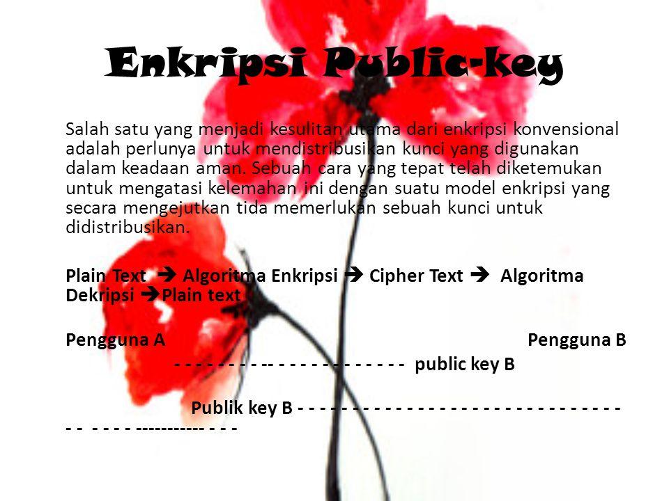 Enkripsi Public-key Salah satu yang menjadi kesulitan utama dari enkripsi konvensional adalah perlunya untuk mendistribusikan kunci yang digunakan dalam keadaan aman.