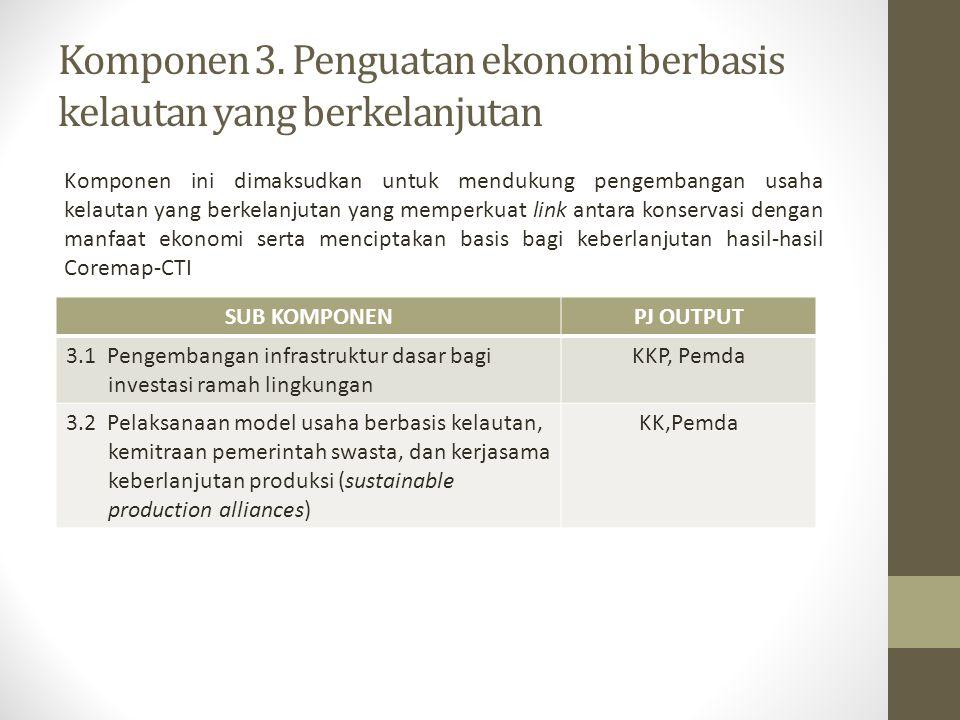Komponen 3. Penguatan ekonomi berbasis kelautan yang berkelanjutan Komponen ini dimaksudkan untuk mendukung pengembangan usaha kelautan yang berkelanj