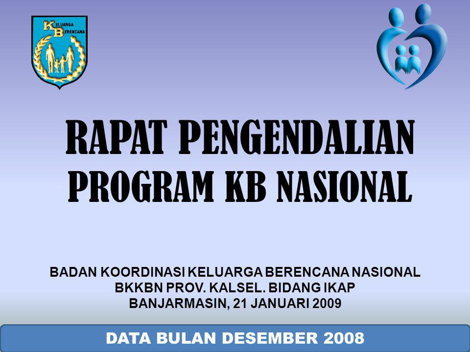 HASIL PELAYANAN PESERTA KB BARU MENURUT TEMPAT PELAYANAN DESEMBER 2008