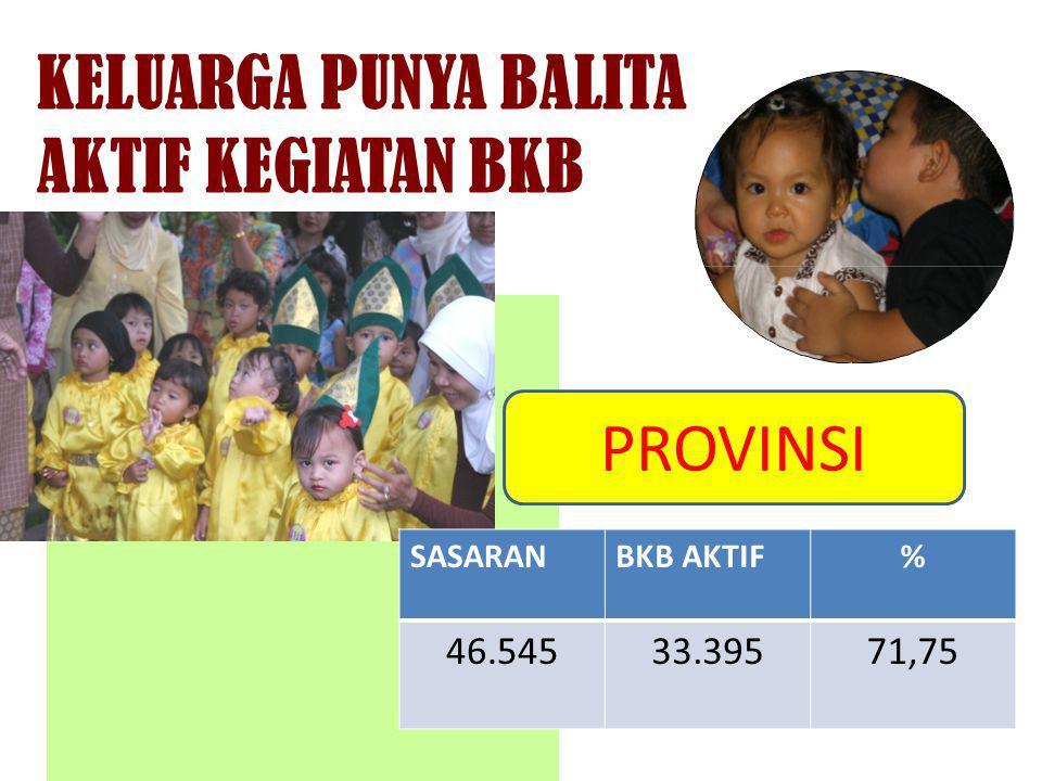 KELUARGA PUNYA BALITA AKTIF KEGIATAN BKB SASARANBKB AKTIF% 46.54533.39571,75 PROVINSI