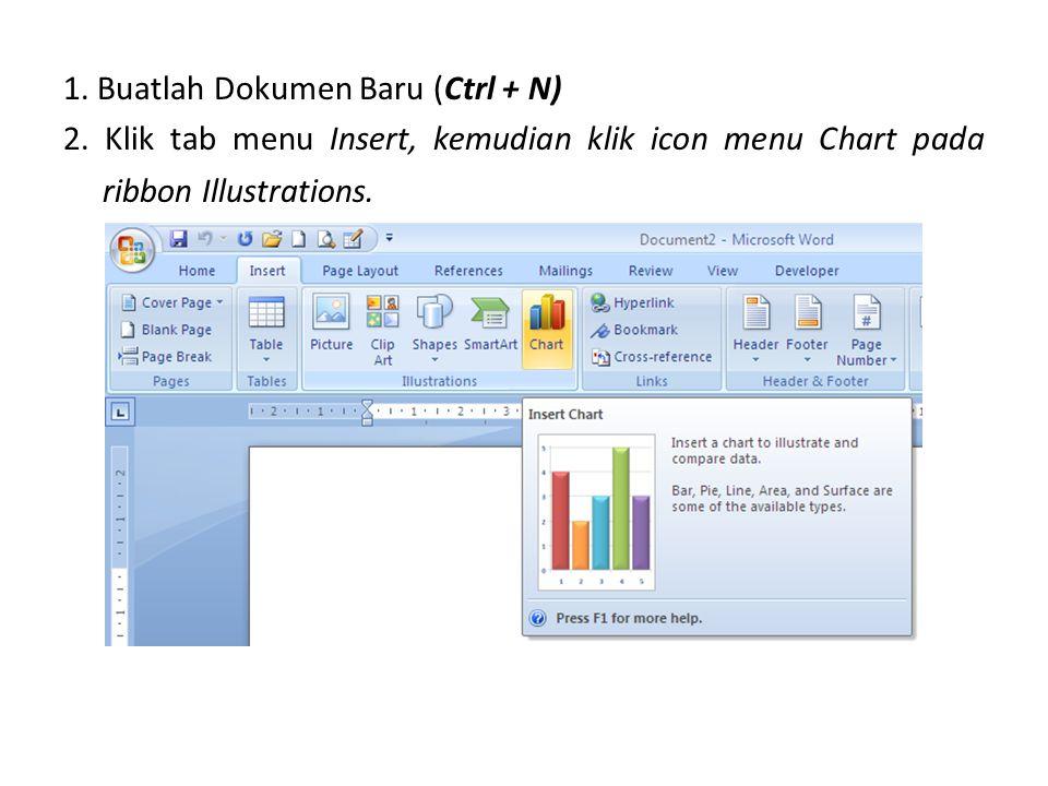 1. Buatlah Dokumen Baru (Ctrl + N) 2. Klik tab menu Insert, kemudian klik icon menu Chart pada ribbon Illustrations.