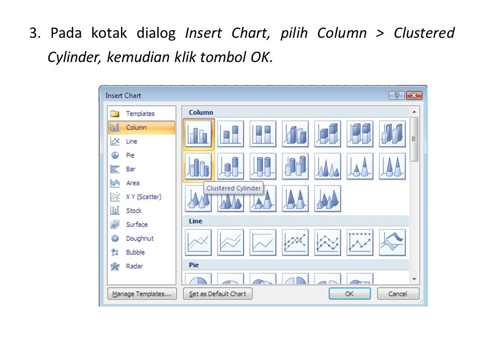 3. Pada kotak dialog Insert Chart, pilih Column > Clustered Cylinder, kemudian klik tombol OK.