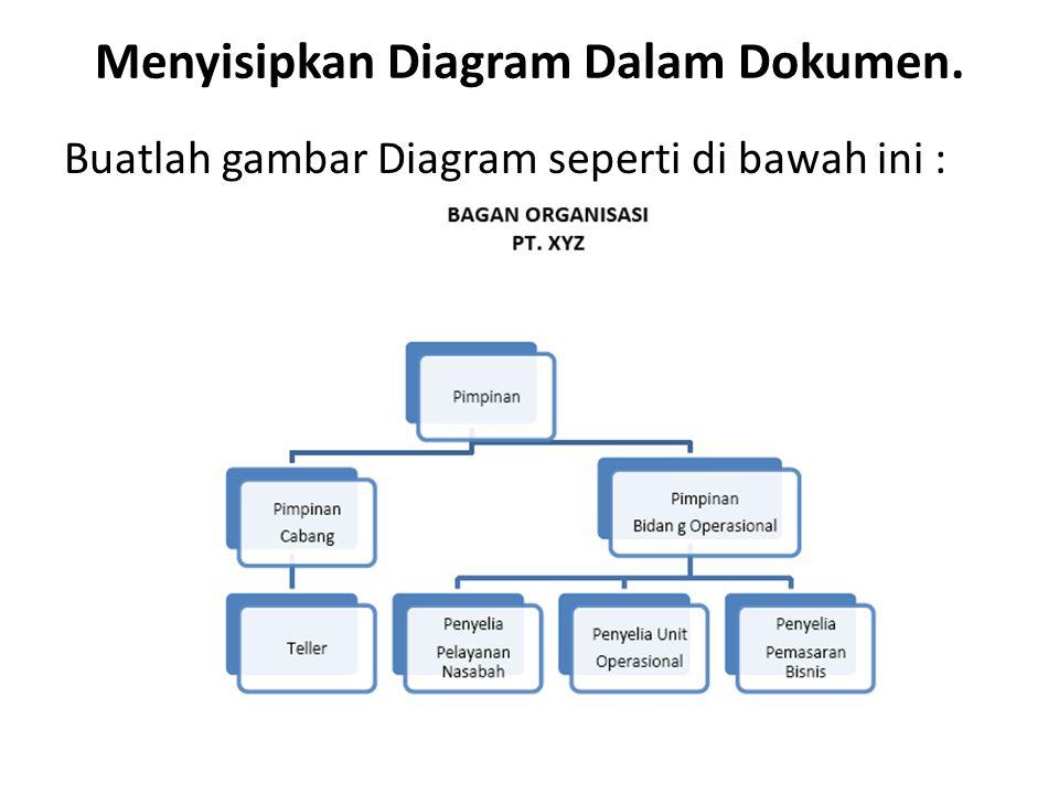 Menyisipkan Diagram Dalam Dokumen. Buatlah gambar Diagram seperti di bawah ini :