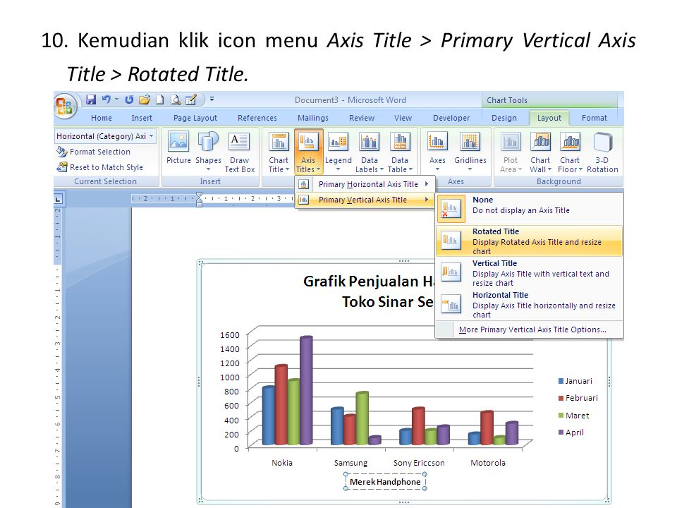 10. Kemudian klik icon menu Axis Title > Primary Vertical Axis Title > Rotated Title.
