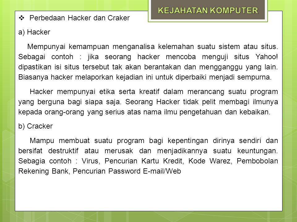  Perbedaan Hacker dan Craker a) Hacker Mempunyai kemampuan menganalisa kelemahan suatu sistem atau situs. Sebagai contoh : jika seorang hacker mencob