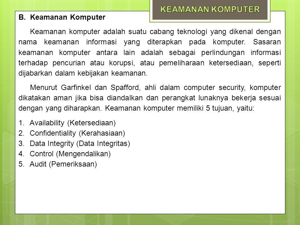 B. Keamanan Komputer Keamanan komputer adalah suatu cabang teknologi yang dikenal dengan nama keamanan informasi yang diterapkan pada komputer. Sasara