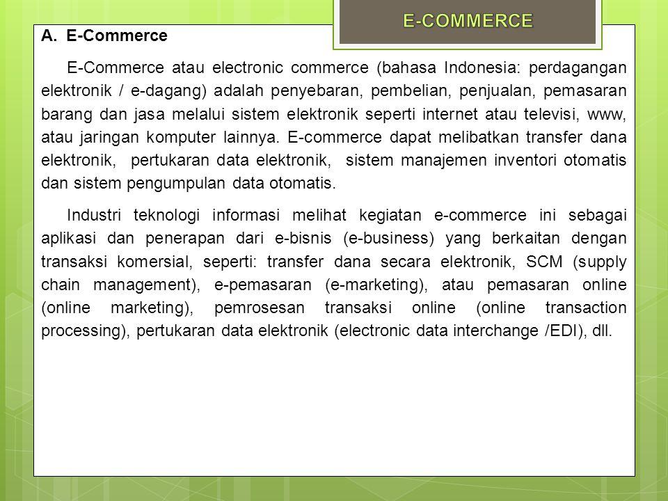 A.E-Commerce E-Commerce atau electronic commerce (bahasa Indonesia: perdagangan elektronik / e-dagang) adalah penyebaran, pembelian, penjualan, pemasa