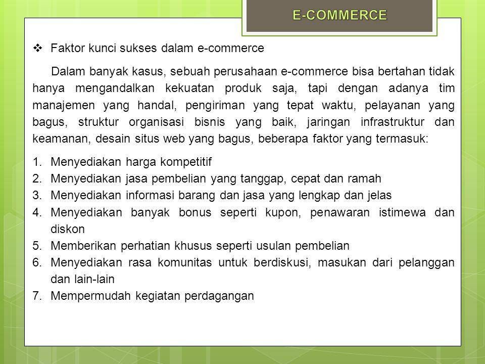  Faktor kunci sukses dalam e-commerce Dalam banyak kasus, sebuah perusahaan e-commerce bisa bertahan tidak hanya mengandalkan kekuatan produk saja, t