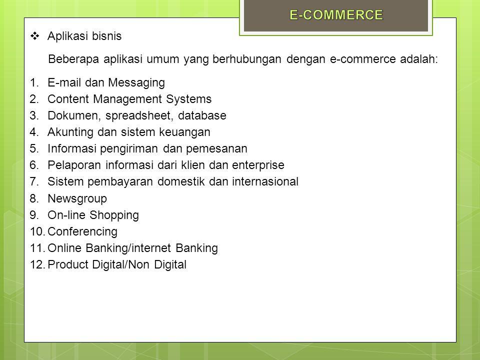  Aplikasi bisnis Beberapa aplikasi umum yang berhubungan dengan e-commerce adalah: 1.E-mail dan Messaging 2.Content Management Systems 3.Dokumen, spr