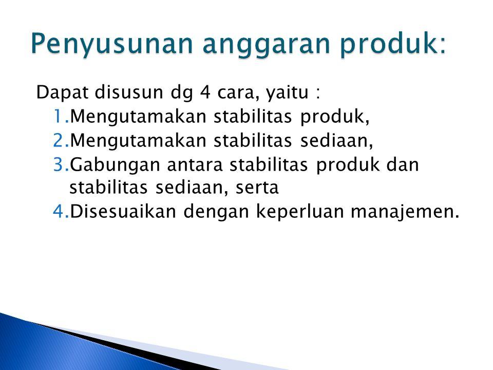 Dapat disusun dg 4 cara, yaitu : 1.Mengutamakan stabilitas produk, 2.Mengutamakan stabilitas sediaan, 3.Gabungan antara stabilitas produk dan stabilitas sediaan, serta 4.Disesuaikan dengan keperluan manajemen.