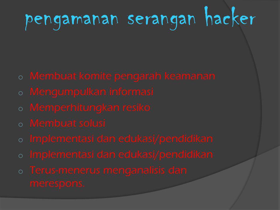 pengamanan serangan hacker o Membuat komite pengarah keamanan o Mengumpulkan informasi o Memperhitungkan resiko o Membuat solusi o Implementasi dan ed