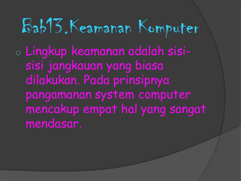 Bab13.Keamanan Komputer o Lingkup keamanan adalah sisi- sisi jangkauan yang biasa dilakukan. Pada prinsipnya pangamanan system computer mencakup empat