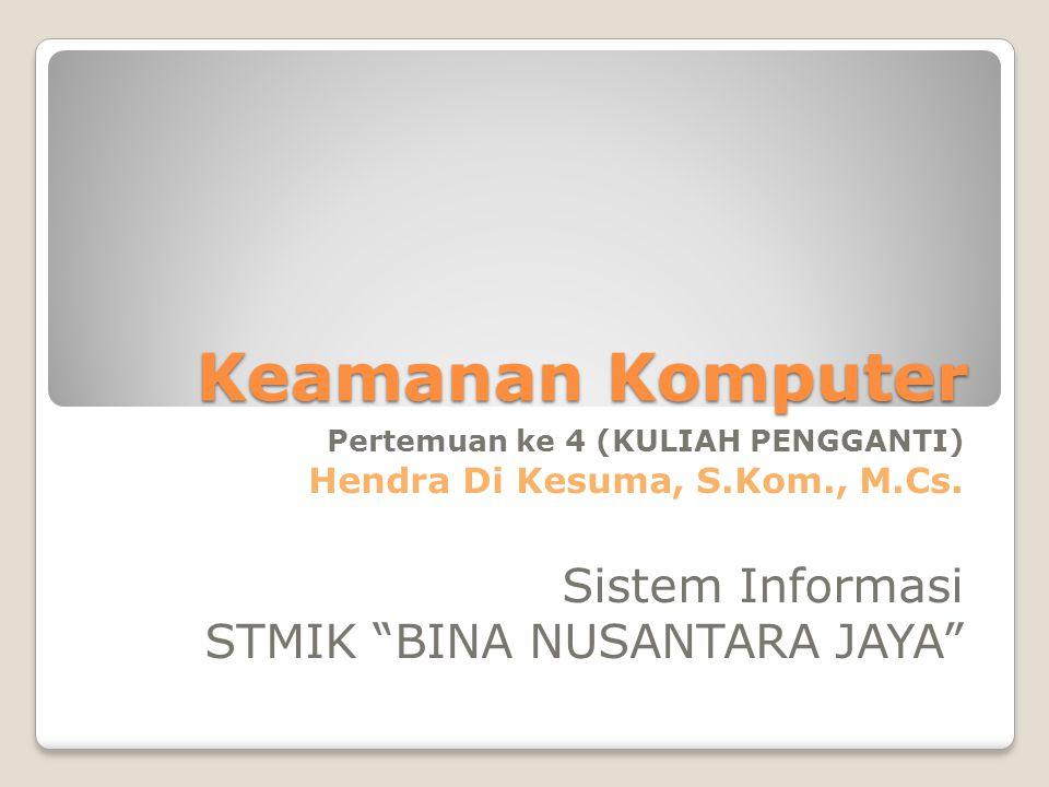 "Keamanan Komputer Pertemuan ke 4 (KULIAH PENGGANTI) Hendra Di Kesuma, S.Kom., M.Cs. Sistem Informasi STMIK ""BINA NUSANTARA JAYA"""