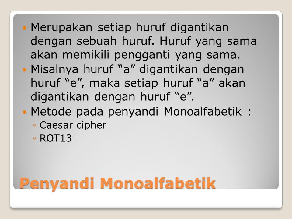 """Penyandi Monoalfabetik Merupakan setiap huruf digantikan dengan sebuah huruf. Huruf yang sama akan memikili pengganti yang sama. Misalnya huruf """"a"""" di"""
