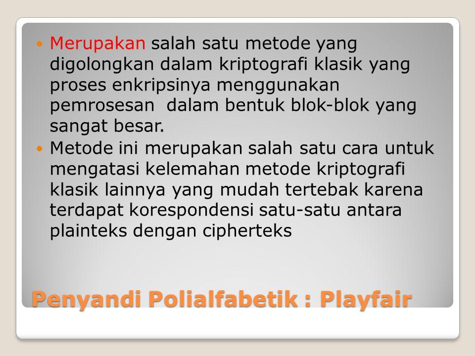 Penyandi Polialfabetik : Playfair Merupakan salah satu metode yang digolongkan dalam kriptografi klasik yang proses enkripsinya menggunakan pemrosesan dalam bentuk blok-blok yang sangat besar.