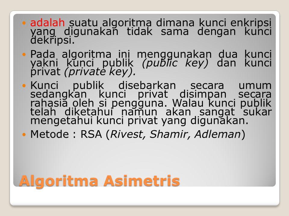 Algoritma Asimetris adalah suatu algoritma dimana kunci enkripsi yang digunakan tidak sama dengan kunci dekripsi. Pada algoritma ini menggunakan dua k