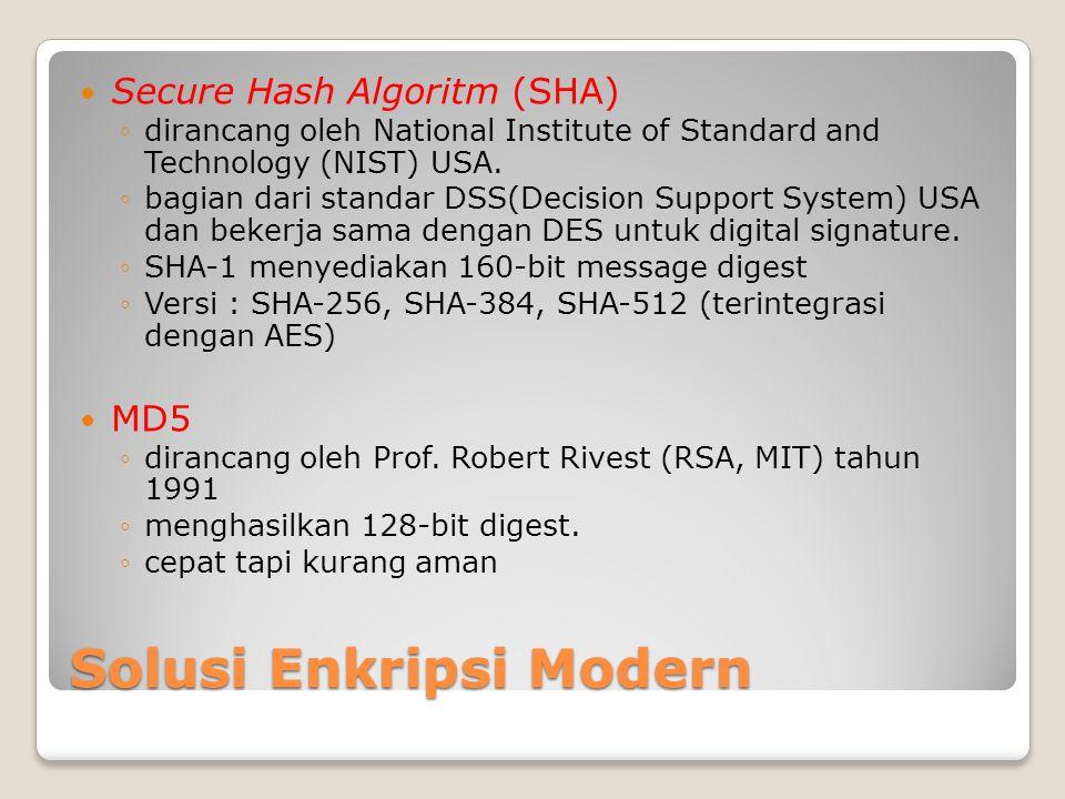Solusi Enkripsi Modern Secure Hash Algoritm (SHA) ◦dirancang oleh National Institute of Standard and Technology (NIST) USA. ◦bagian dari standar DSS(D