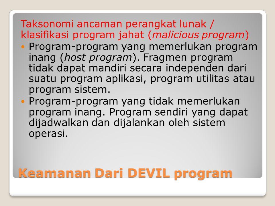 Keamanan Dari DEVIL program Taksonomi ancaman perangkat lunak / klasifikasi program jahat (malicious program) Program-program yang memerlukan program inang (host program).