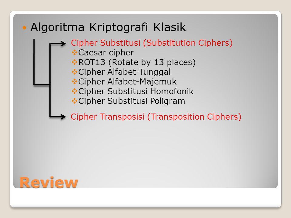 Penggunaan Kunci Salah satu cara untuk menambah tingkat keamanan sebuah algoritma enkripsi dan dekripsi adalah dengan menggunakan sebuah kunci (key) yang biasanya disebut k.