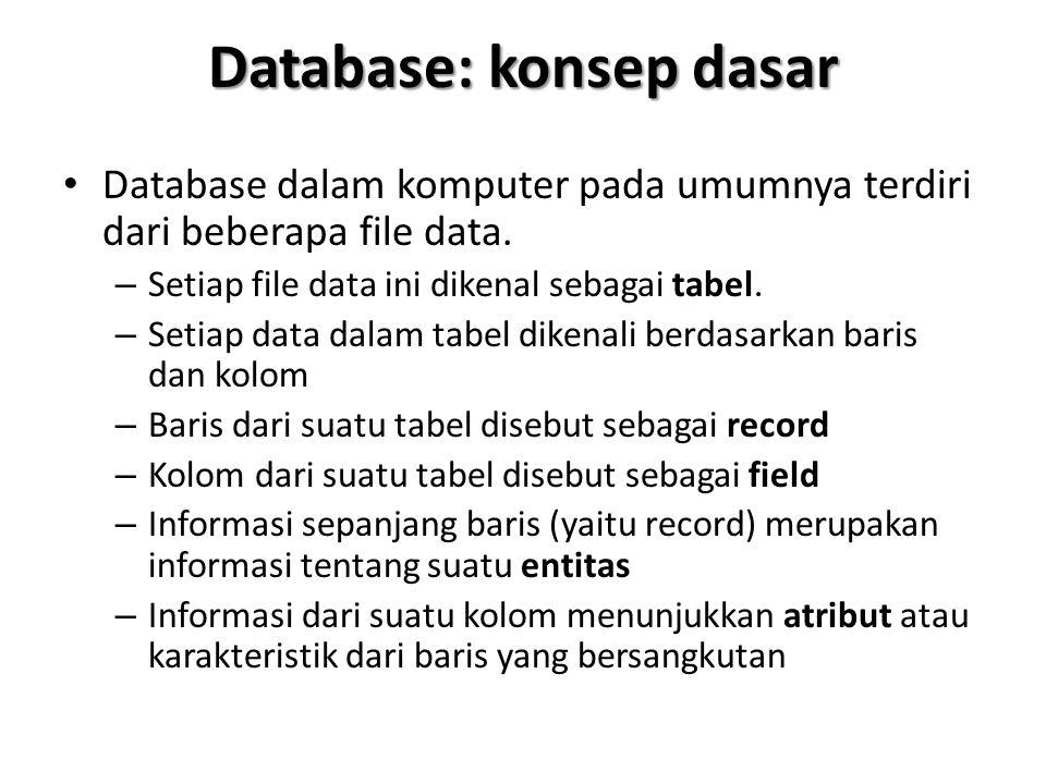Database: konsep dasar Database dalam komputer pada umumnya terdiri dari beberapa file data. – Setiap file data ini dikenal sebagai tabel. – Setiap da