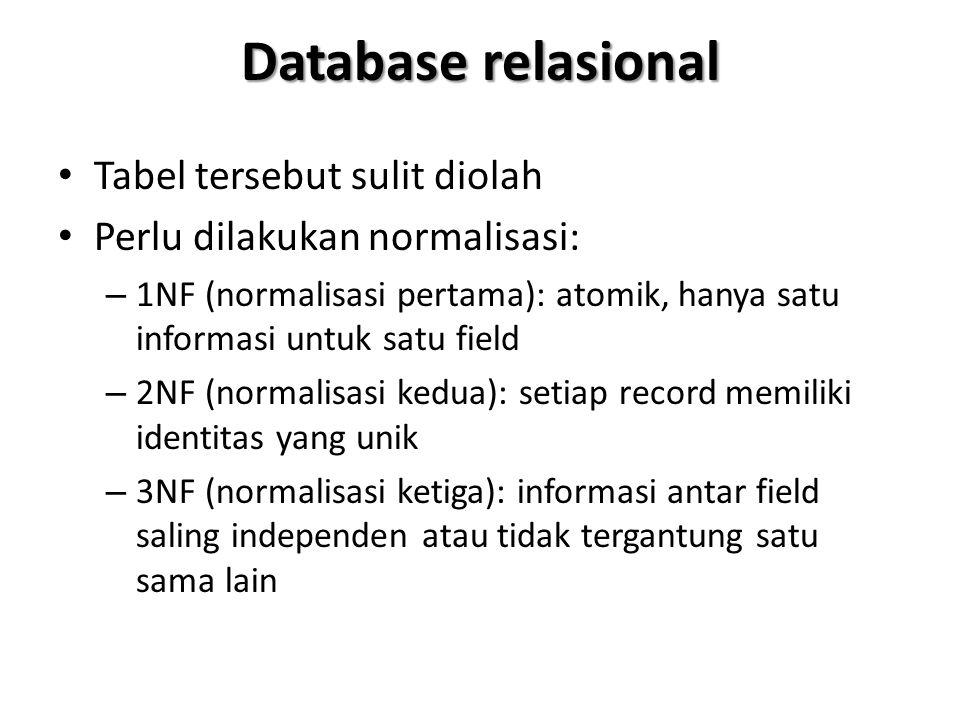 Database relasional Proses normalisasi akan menghasilkan beberapa tabel yang merupakan dekomposisi atau pecahan dari tabel induk Proses dekomposisi tidak boleh menghilangkan informasi yang ada (contoh rinci lihat catatan kuliah pada pertemuan 6)