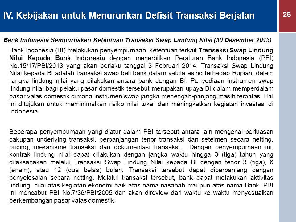 26 IV. Kebijakan untuk Menurunkan Defisit Transaksi Berjalan Bank Indonesia Sempurnakan Ketentuan Transaksi Swap Lindung Nilai (30 Desember 2013) Bank