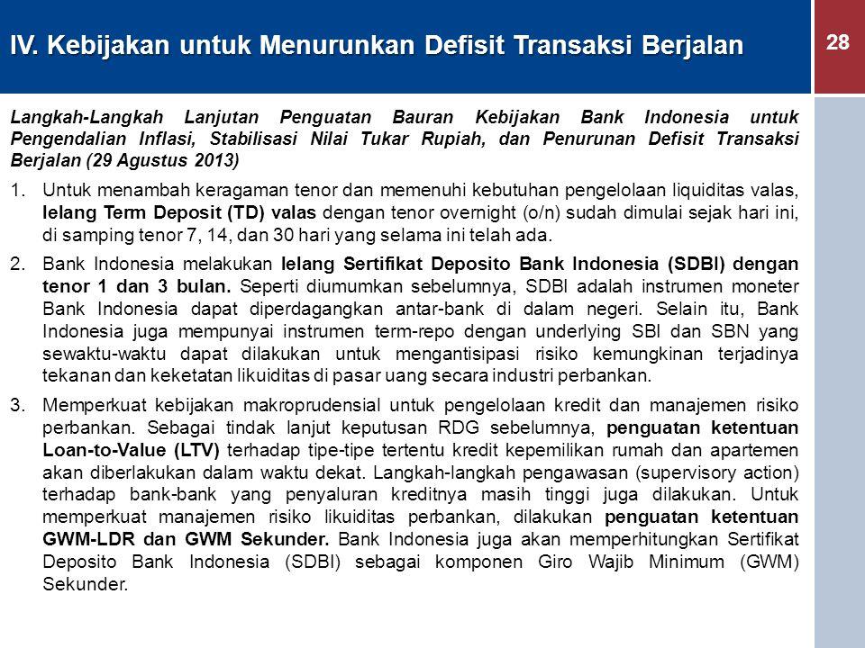28 IV. Kebijakan untuk Menurunkan Defisit Transaksi Berjalan Langkah-Langkah Lanjutan Penguatan Bauran Kebijakan Bank Indonesia untuk Pengendalian Inf