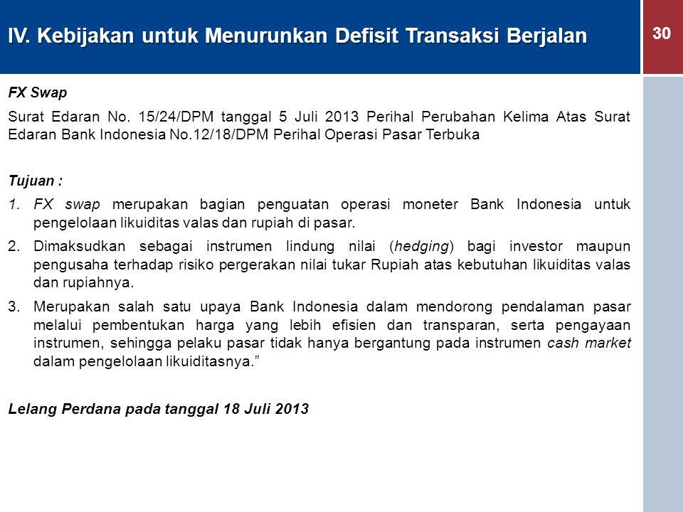 30 IV. Kebijakan untuk Menurunkan Defisit Transaksi Berjalan FX Swap Surat Edaran No. 15/24/DPM tanggal 5 Juli 2013 Perihal Perubahan Kelima Atas Sura