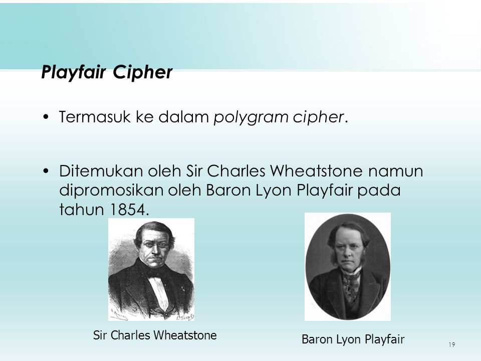 19 Playfair Cipher Termasuk ke dalam polygram cipher.