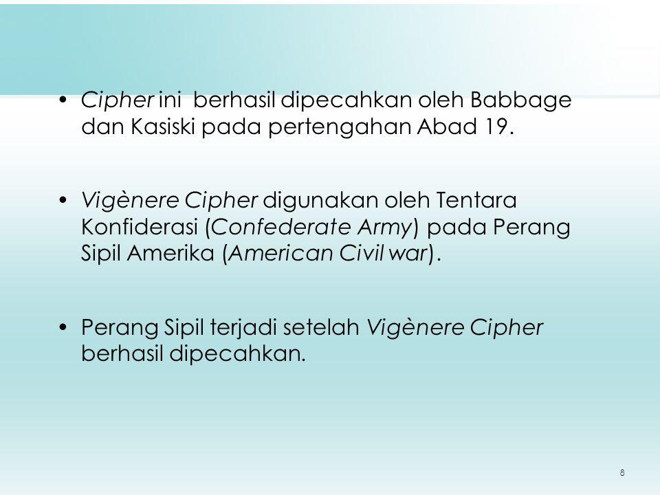 8 Cipher ini berhasil dipecahkan oleh Babbage dan Kasiski pada pertengahan Abad 19.